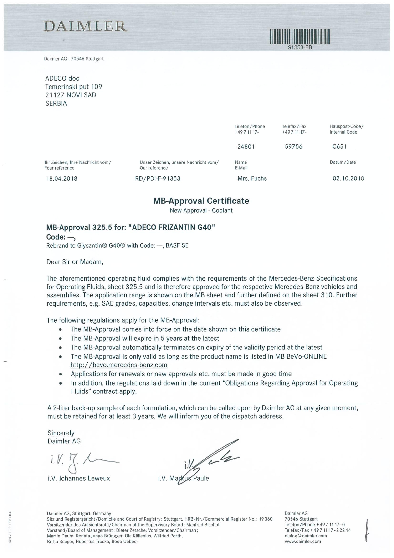 Daimler Mercedes-Benz odobrenje za Frizantin G40