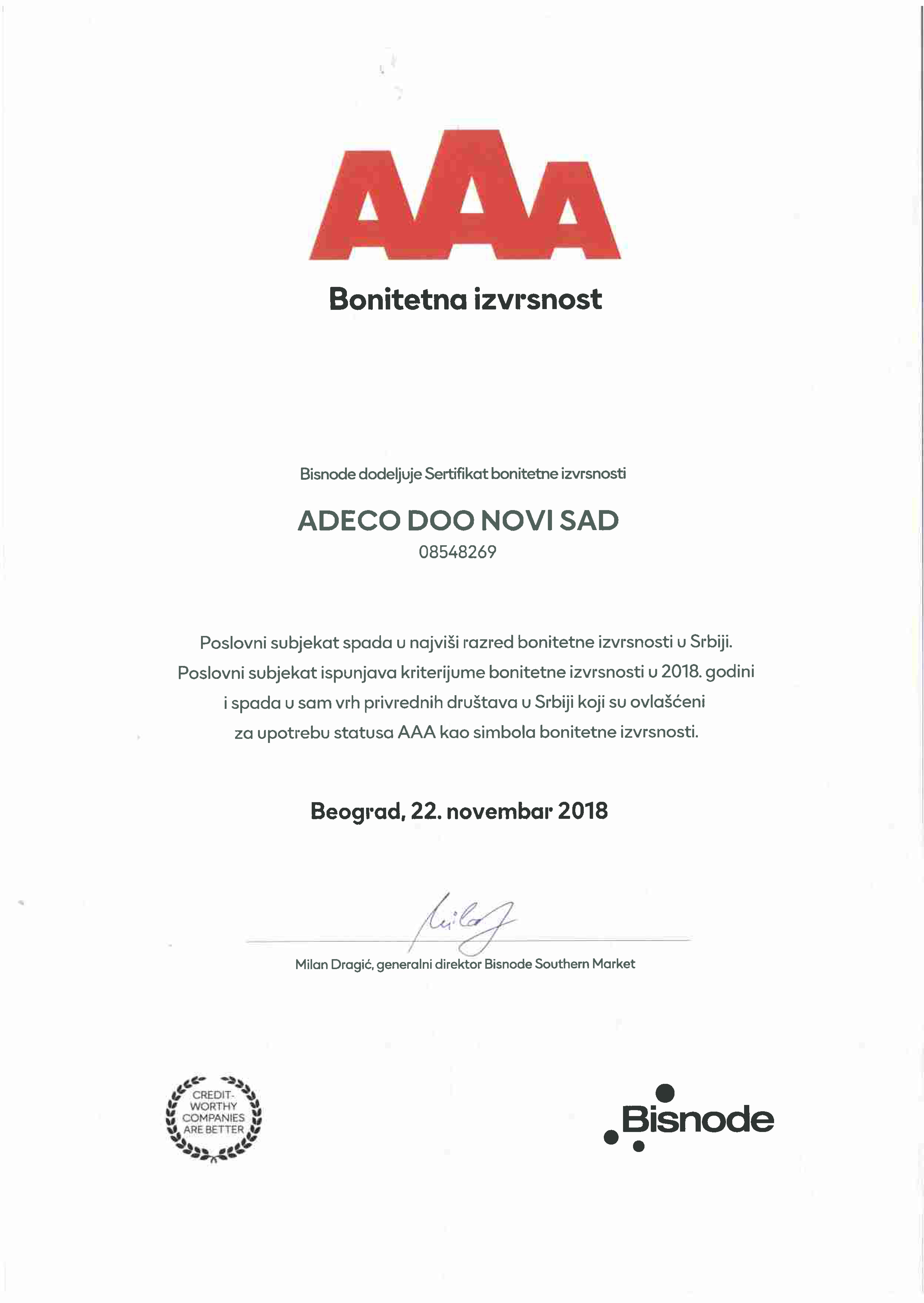 Sertifikat bonitetne izvrsnosti AAA